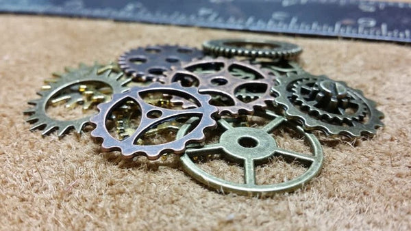 Bundle of Steampunk Metal Gears. Steampunk Findings for Jewelry or Cogs, Sprockets, Clockwork