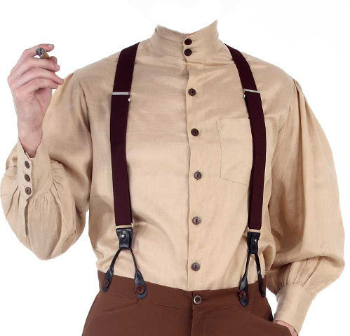 Gentlemen's High Collared Victorian Steampunk Shirt Comes in 10 assorted colors. Mens Vintage Dress - Victorian Foundry
