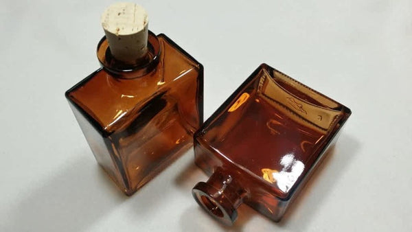 Amber Glass Vintage Medicine Bottle. 4 oz Square Cork top Alchemy Apothecary. New