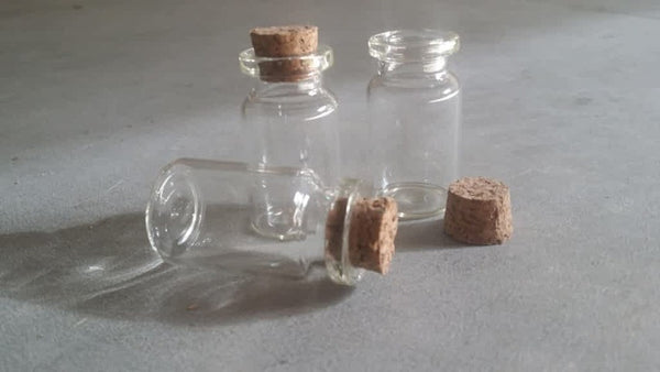 Clear Mini Glass Vials. Pair of Glass Cork Top Potion Apothecary Bottles for Crafts & Jewelry