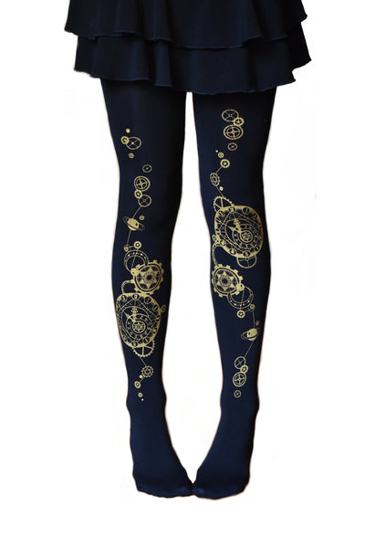 Steampunk Clock Tattoo Tights! Seamless Leggings Opaque Steam Punk Multiple Designs!