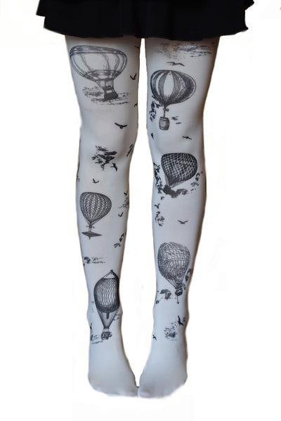 Steampunk Balloon Tattoo Tights Vintage Adult Seamless Leggings Opaque Black White Airship Balloons - Victorian Foundry