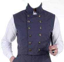 Men's 12 Button Blue Steampunk Waistcoat Gentlemens Double Breasted Sleeveless Vest - Victorian Foundry
