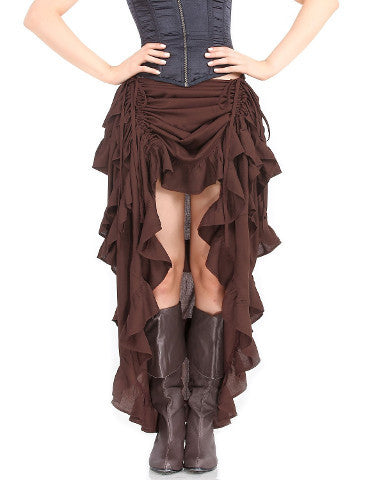 Ladies Steampunk Ruffle Full Length Burlesque Skirt. Victorian Bustle Skirt for Women Gather Dress - Victorian Foundry