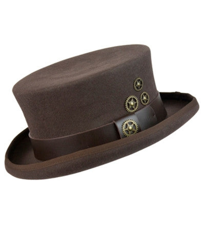 Brown Belted Steampunk Top Hat. Steam Punk Hat with Gears Low Profile Tophat - Victorian Foundry