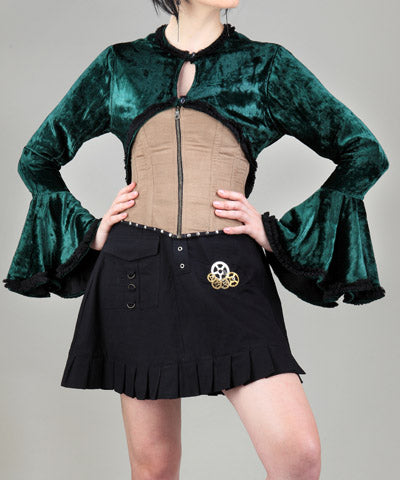 Green Shrug-Like Style Blouse Steampunk Womens Shirt - Victorian Foundry