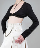 Black Short-Length Blouse Rivets Buckle Steampunk Womens Shirt