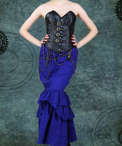 Faux Leather Steel Busk 4 Buckled Straps Drawstring Steampunk Womens Corset - Victorian Foundry