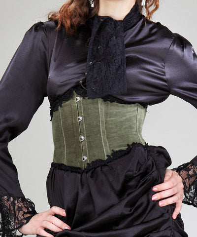 Cotton Velvet Steampunk Intrinsic Lace Victorian Womens Corset