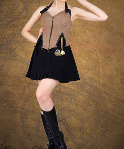 Suede Fabric Corset Zipper Front Steampunk Faux Leather Victorian Corset