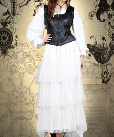 Corset-Like Style Steampunk Black Faux Leather Womens Jacket - Victorian Foundry