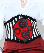 Faux Leather White and Black Strip Steampunk Womens Corset Girdle - Victorian Foundry