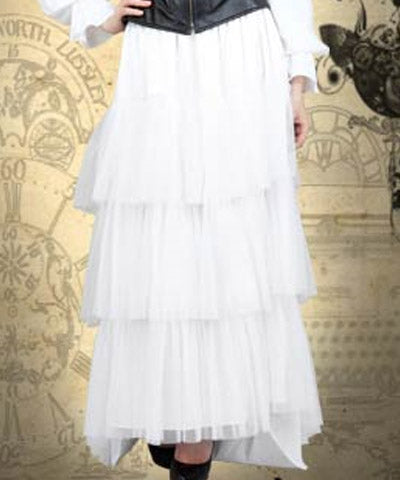 Steampunk Heiress Skirt Womens Ruffles White Lovely Dress - Victorian Foundry