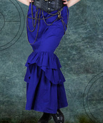 Ladies Blue Cotton Poplin Fitted Mermaid Steampunk Womens Pencil Ruffle Skirt - Victorian Foundry