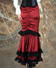 Red Mermaid Fitted Steampunk Black Frill Elegant Skirt - Victorian Foundry