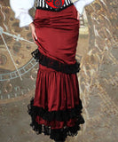 Red Mermaid Fitted Steampunk Black Frill Elegant Skirt