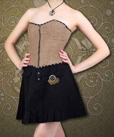 Suede Fabric Soft Black Twill Lining Steampunk Womens Corset Girdle - Victorian Foundry
