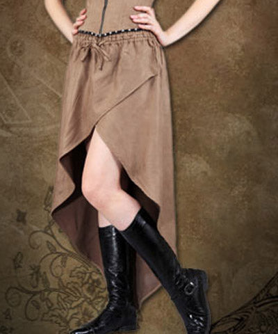 Steampunk Airship Captains Luxury Dining Brown Steampunk Womens Skirt - Victorian Foundry
