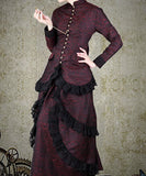 Brocade Black Red Aristocratic Blouse Steampunk Womens Shirt