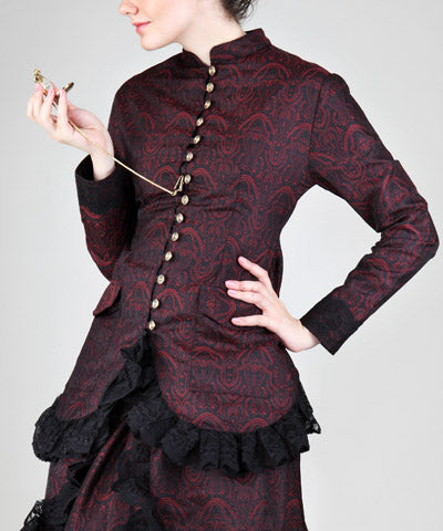Brocade Black Red Aristocratic Blouse Steampunk Womens Shirt - Victorian Foundry