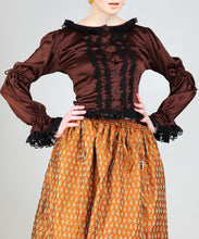 Black Lacey-frill front button Steampunk Luxury Womens Shirt Blouse - Victorian Foundry