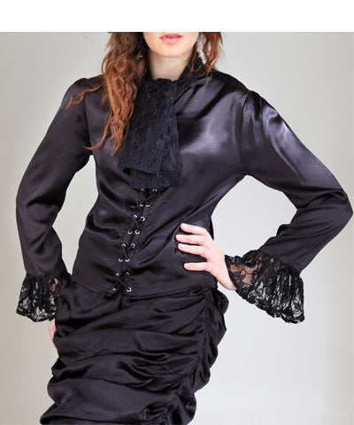 Lace Fabric Adorned Cuffs Steampunk Womens Blouse Ladies Shirt