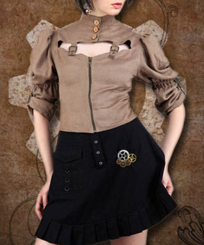 Brown Authoritative Ruffled Sleeve Puffed Shoulders Steampunk Womens Shirt