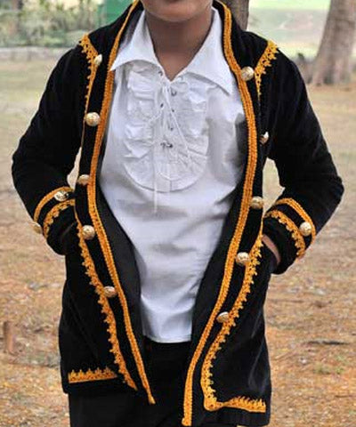 Golden Laces and Button Steampunk Velvet Cotton Rogue Childrens Coat - Victorian Foundry