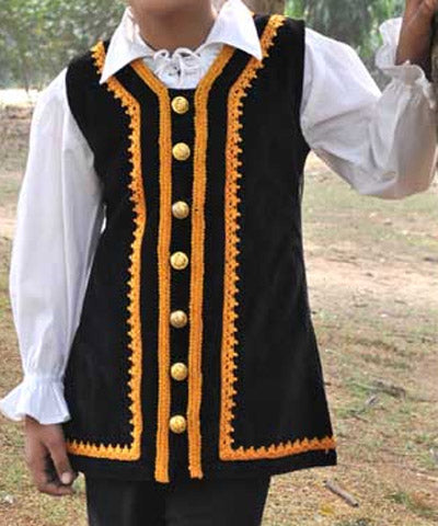 Golden Laces and Button Steampunk Velvet Cotton Rogue Childrens Sleeveless Shirt