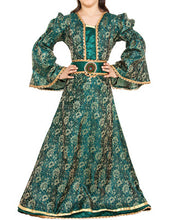 Green and Gold Brocade Luxury Steampunk Childrens Girls Dress - Victorian Foundry