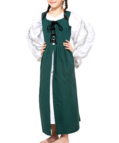 Medieval Victorian Green Tunic-Like Girls Dress Front Lace Billowy Sleeves - Victorian Foundry