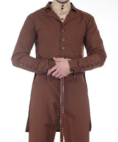 Steampunk Mens Engineers Relaxed Brown Coat Tinkerers Jacket