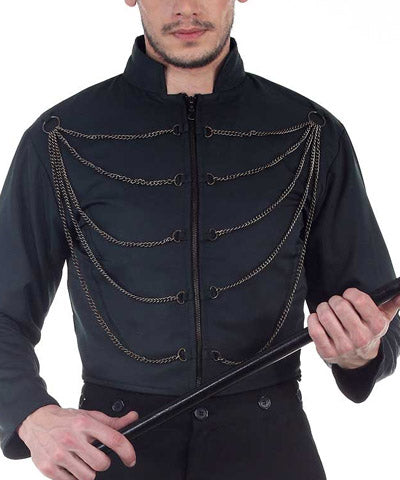 Black Multi-Chained Steampunk Coat Mens Jacket