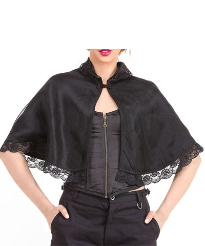 Steampunk Black Lace Womens Shrug Lace Decorations Front frog-clasp Capelet - Victorian Foundry