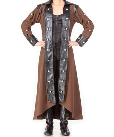 Ladies Steampunk Trench Coat Womens Adventurers Jacket