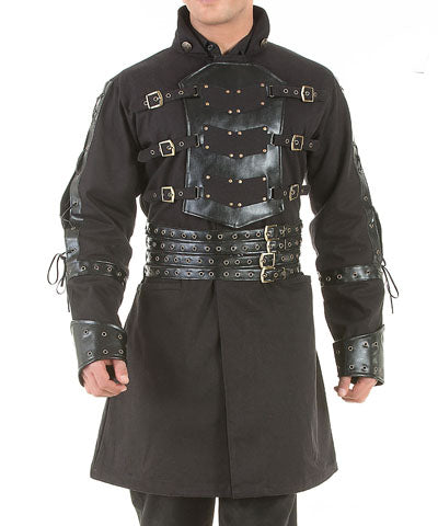 Gentlemens Black Steampunk Full Coat Buckle Breasted Laced Sleeve Mens Jacket