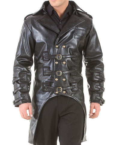 Mens Rugged Faux Leather Jacket, Post Apocalyptic Steampunk Trench Coat