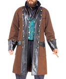 Airship Captains Brown Luxury Battle Coat Mens Jacket - Victorian Foundry