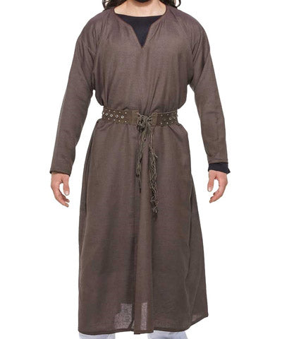 Knee Length Long Sleeved Linen Steampunk Mens Tunic Shirt Gentlemens Top - Victorian Foundry