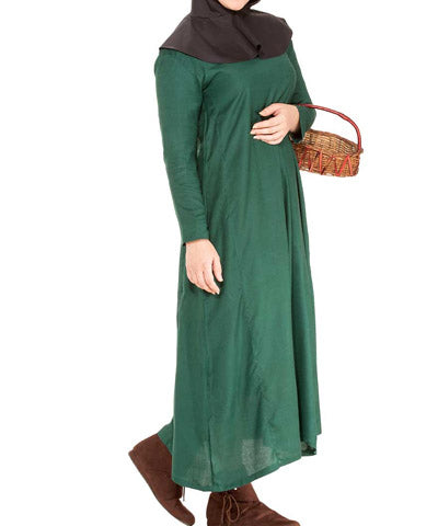 Green Medieval Steampunk Simple Womens Tunic Ladies Full Length Top
