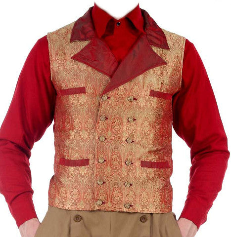 Gentlemen's 12-button Red and Gold Waistcoat. Men's Vest Double Breasted Waist Coat - Victorian Foundry