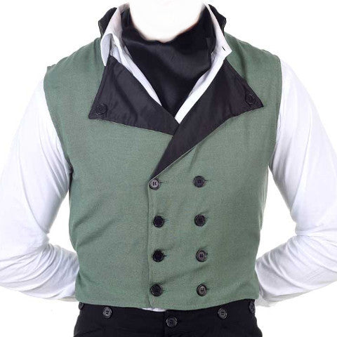 Gentlemen's 8-button Classic Green Waistcoat. Men's Vest Double Breasted Steampunk Waist Coat - Victorian Foundry