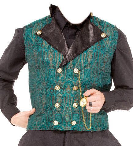 Gentlemen's 8-button Green Brocade Waistcoat. Men's Vest Double Breasted Waist Coat - Victorian Foundry