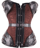Brown Floral Steampunk Belted Rivet Lace-up Back 14 Steel Boned Waist Training Corset - Victorian Foundry