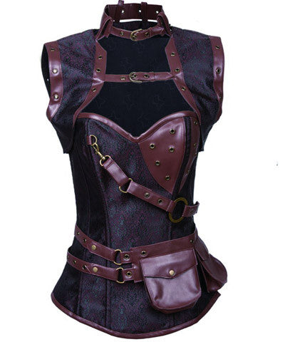 Stylish Brocade Vintage Steampunk Corset _ - Victorian Foundry