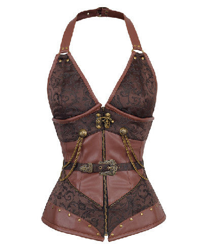 Brown Halter Neck 14 Steel Boned Corset Steampunk Gothic Corset _