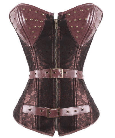 Jacquard Leather Steampunk Overbust Corset Zipper Front Lace-up Closure Body Shaper Corset For Waist Training _