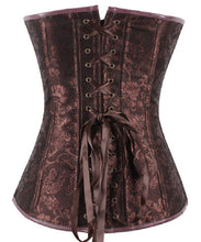Leather Steampunk Overbust Corset Zipper Front Lace-up Closure Body Shaper Corset - Victorian Foundry
