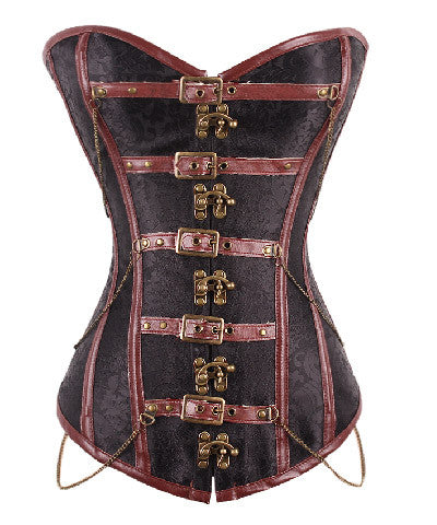 Brown Buckle Up Steampunk Waist Slimmer Cheap Waist Training Corsets _ - Victorian Foundry