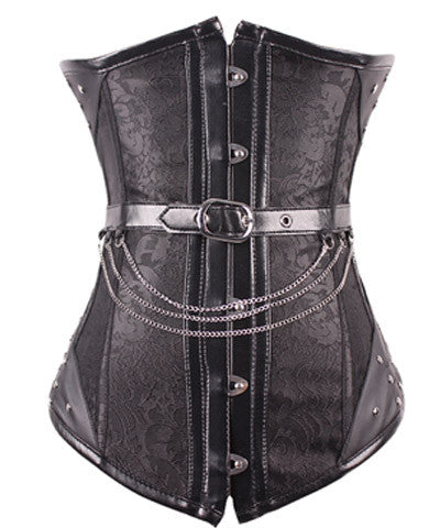 Noble Black Jaquard Steampunk Corsets 14 Steel Boned Waist Training Corset With Chains _